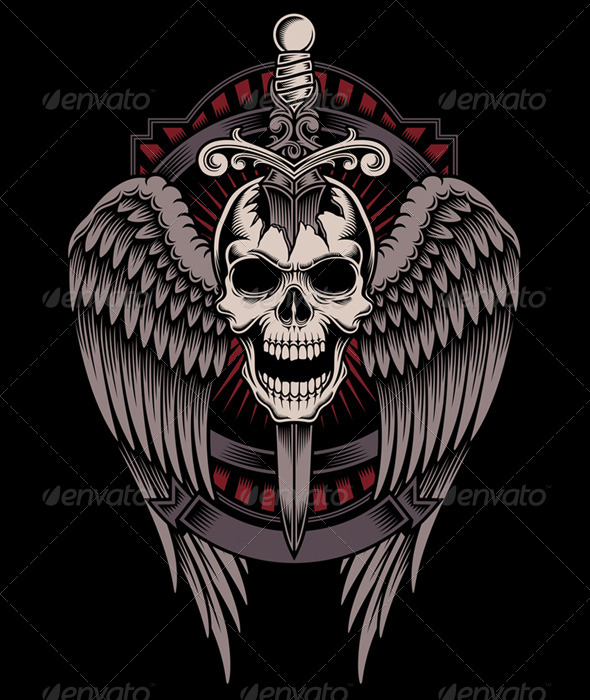 Winged Skull With Sword Stuck Graphicriver