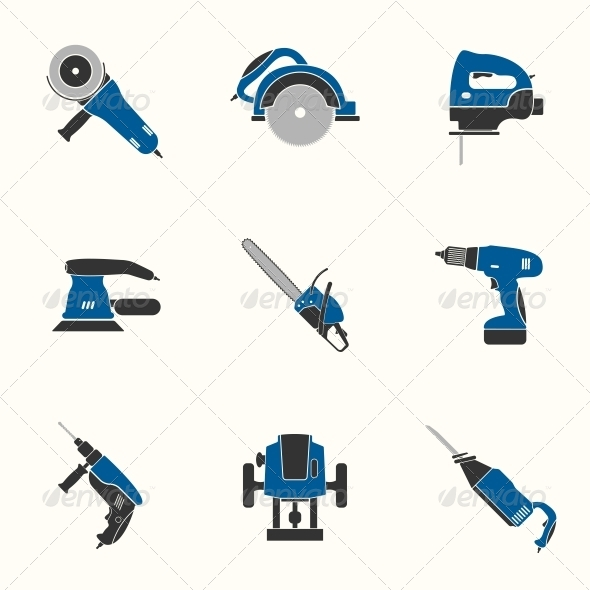 GraphicRiver Electric Tool Flat Icons Set 6511571
