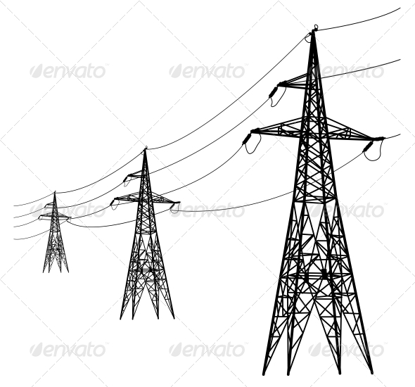 GraphicRiver Silhouette of High Voltage Power Lines 6512131