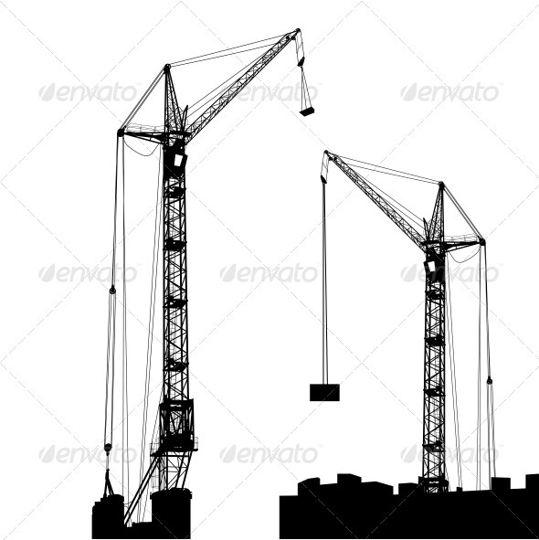 GraphicRiver Silhouette of Two Cranes Working on the Building 6512133