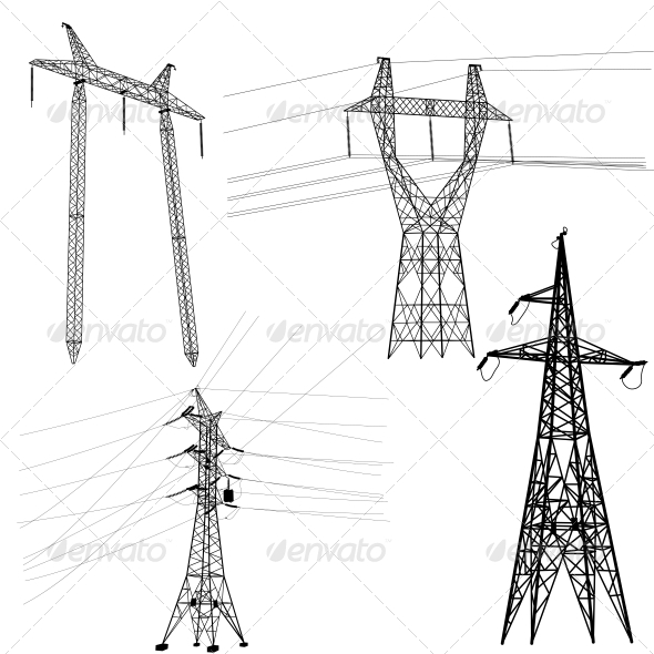 GraphicRiver High Voltage Power Lines Silhouette Set 6512136