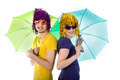 Trendy couple with sunglasses, wigs and umbrellas - PhotoDune Item for Sale