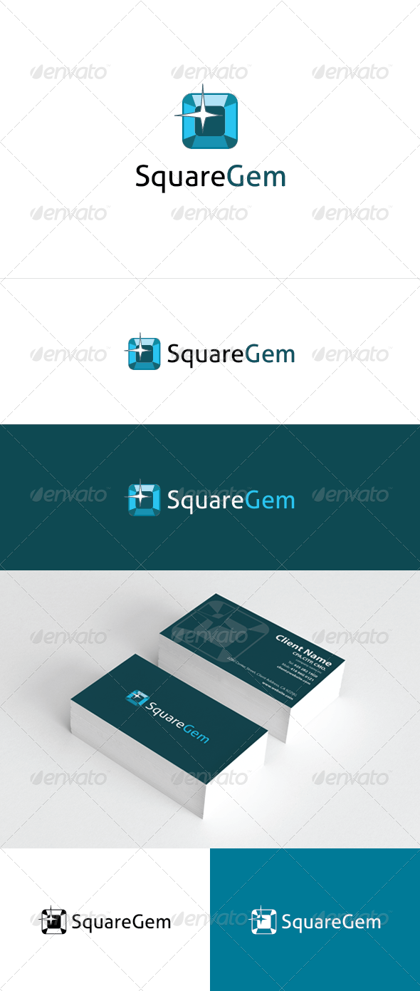 Square Gem Logo Template - Objects Logo Templates