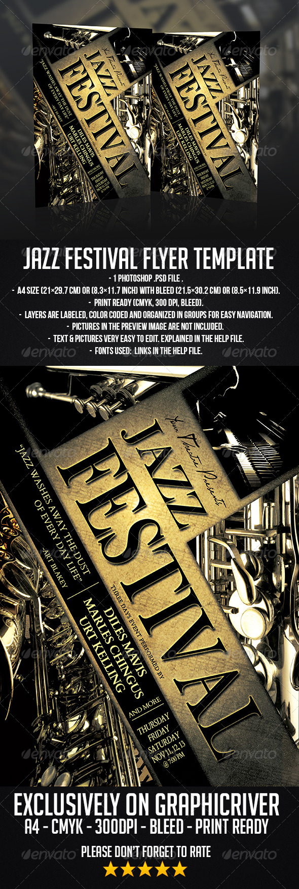 GraphicRiver Jazz Festival Flyer Template 6490682