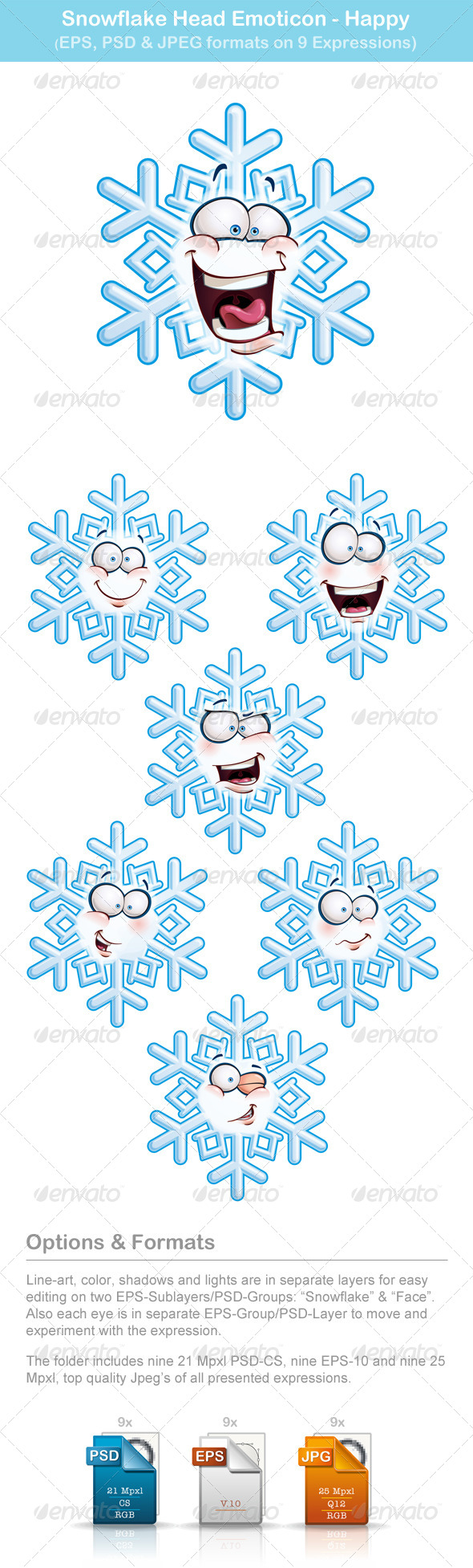 GraphicRiver Snowflake Heads 6513328