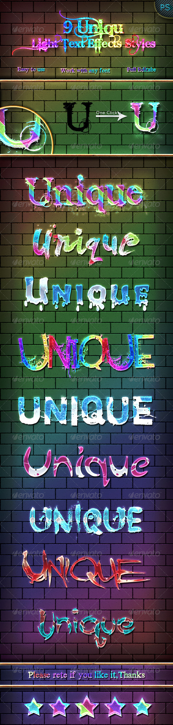 GraphicRiver 9 Unique Light Text Effects Styles 6513331