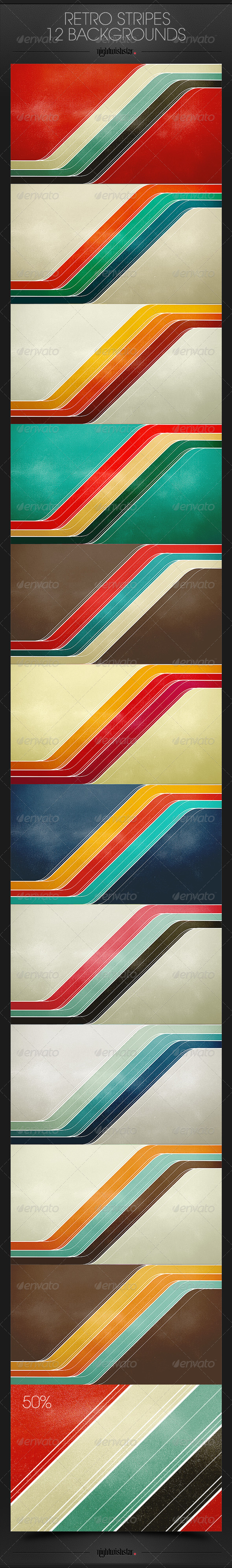 GraphicRiver Retro Stripes Backgrounds 6513394