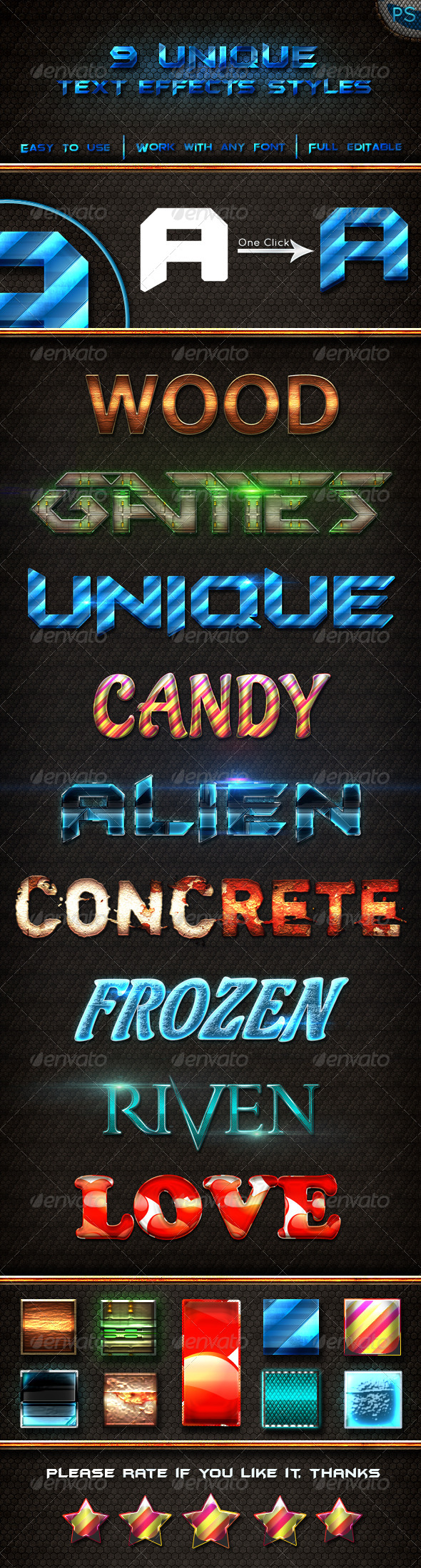 GraphicRiver 9 Unique Text Effects Styles 6514169