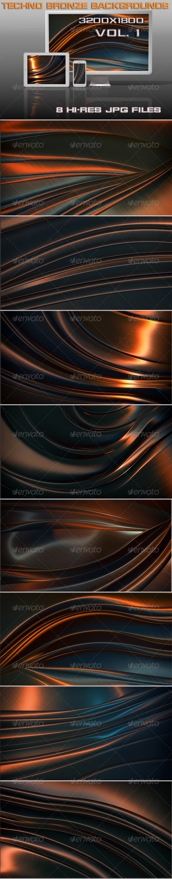 GraphicRiver Techno Bronze Backgrounds 6514251