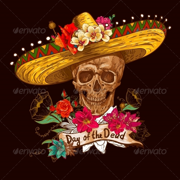 GraphicRiver Skull in Sombrero with Flowers Day of The Dead 6514663