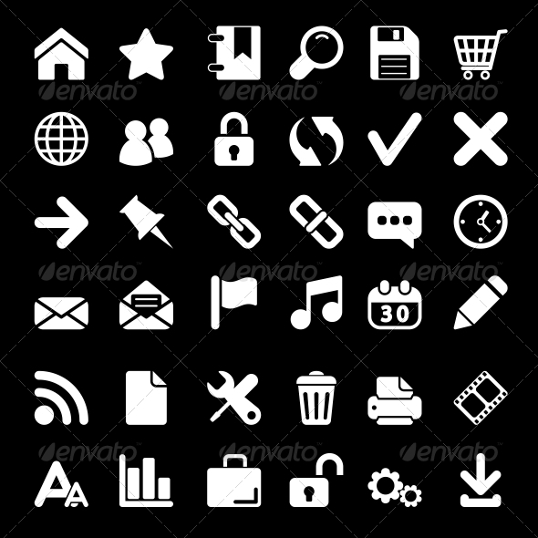 GraphicRiver White Web Icons Set 6514773