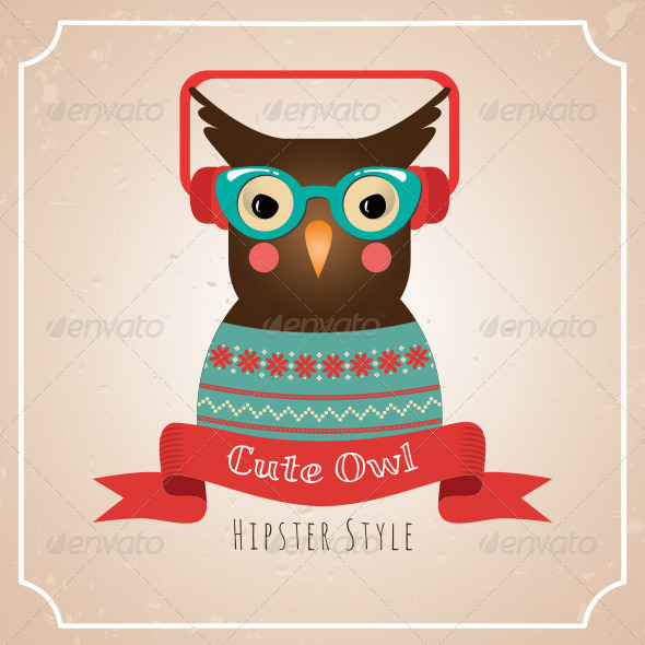 GraphicRiver Illustration of Hipster Owl 6515019