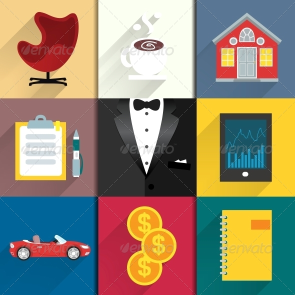 GraphicRiver Icons Set for Luxery Life with Tuxedo 6515224
