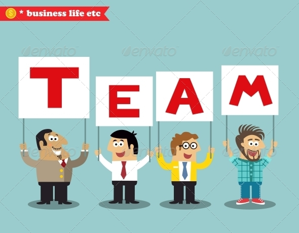 GraphicRiver Office Personnel Holding Team Sign 6515228
