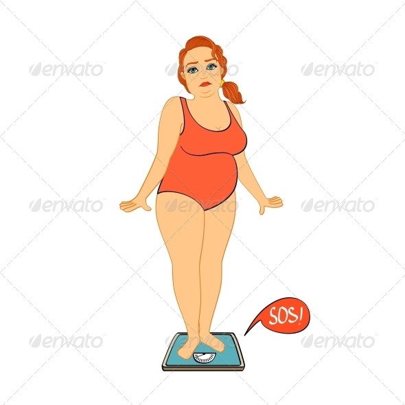 GraphicRiver Woman on Weight Scales Unhappy 6515262
