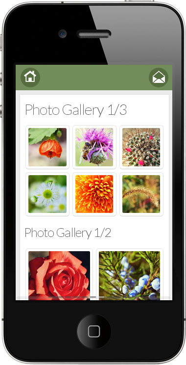 Go Mobile - green photo gallery design