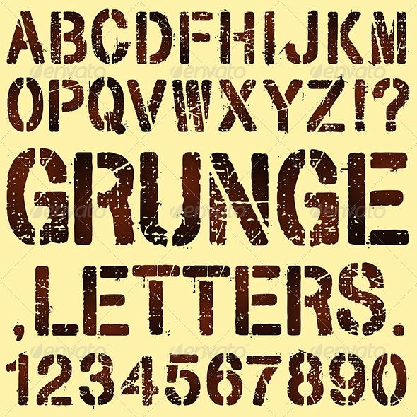 GraphicRiver Grunge Stencil Letters 6516780