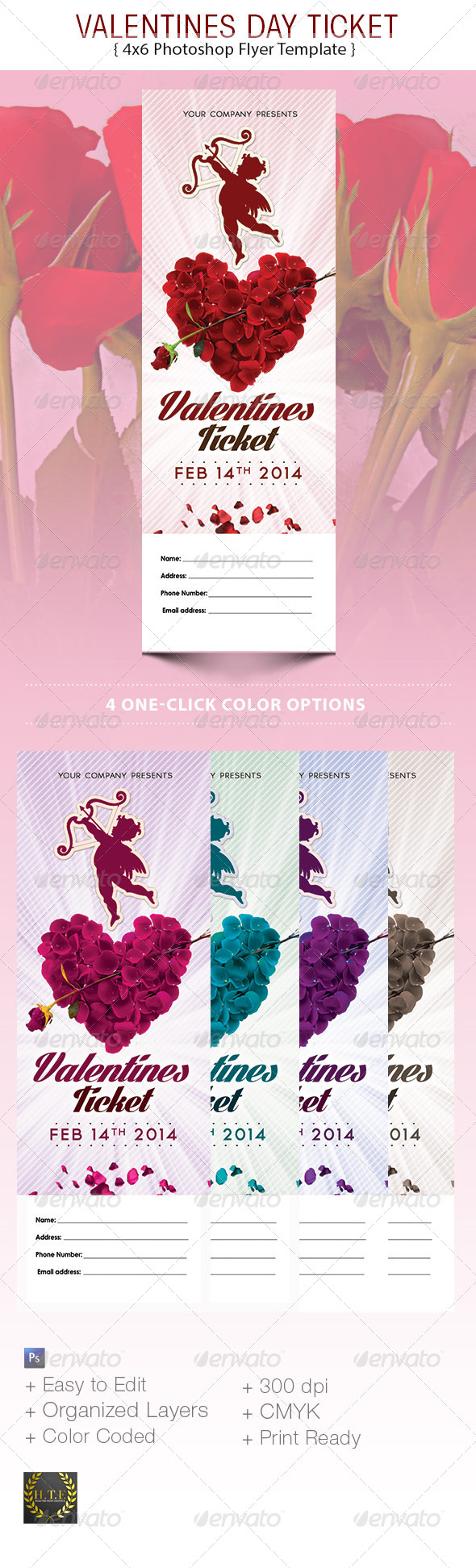 GraphicRiver Valentines Day Ticket 6516923