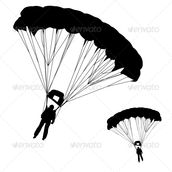 GraphicRiver Skydiver Silhouettes Parachuting 6517478