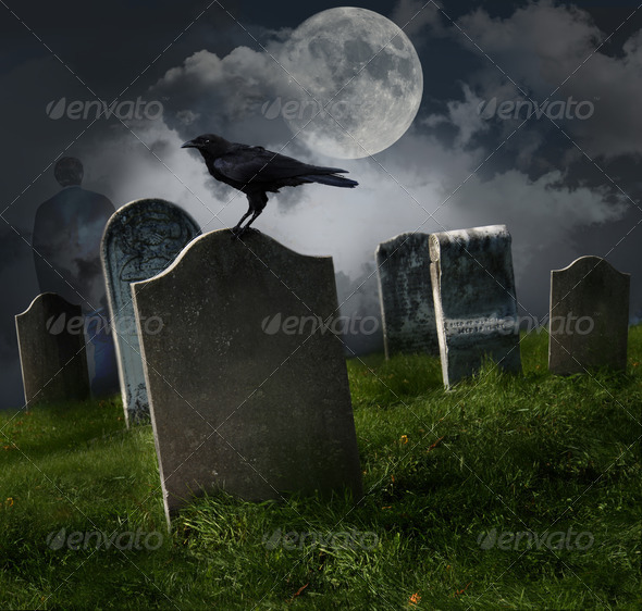 Cemetery with old gravestones and moon - Stock Photo - Images