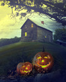 Halloween pumpkins in front of Spooky house - PhotoDune Item for Sale