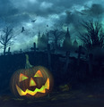 Halloween pumpkin in spooky graveyard - PhotoDune Item for Sale