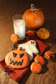 Halloween cookies with a glass of milk - PhotoDune Item for Sale