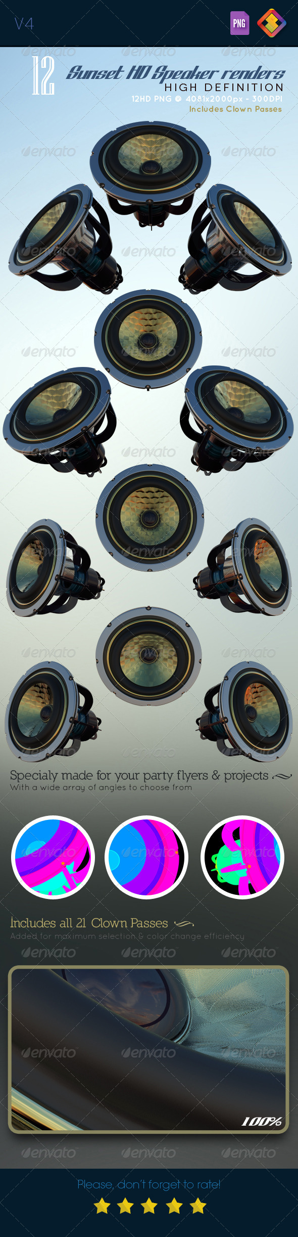 GraphicRiver Sunset HD Speaker Renders V4 6519239