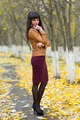 Portrait of a beautiful girl on the autumn alley in full growth - PhotoDune Item for Sale