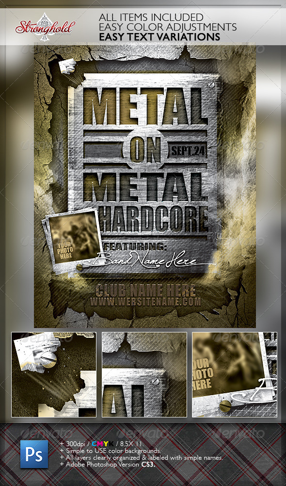 GraphicRiver Metal on Metal Hardcore Flyer Template 6521823