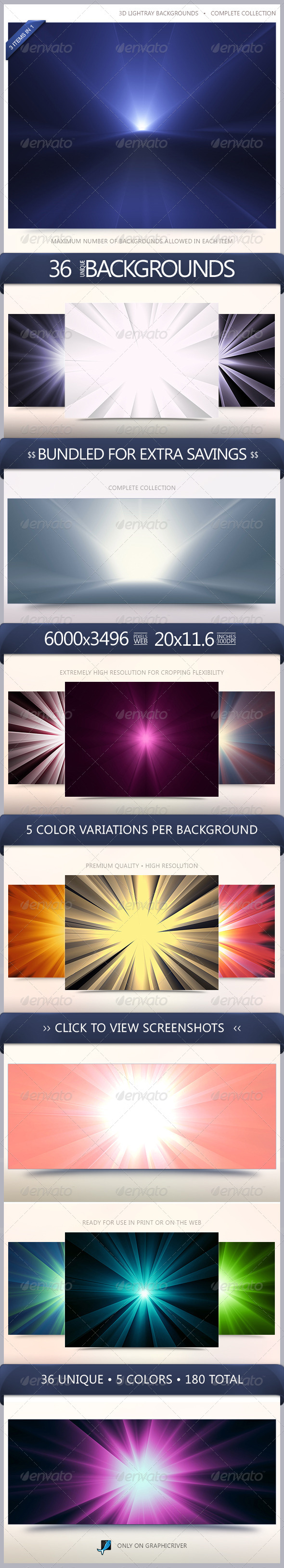 GraphicRiver 3D LightRay Backgrounds Bundle 6522566