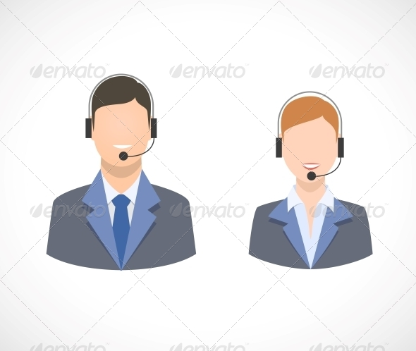 GraphicRiver Call Center Support Personnel Staff Icons 6522600