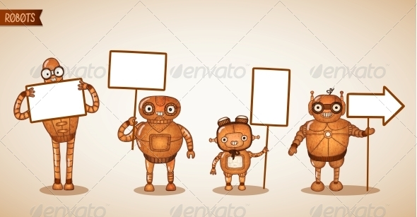 GraphicRiver Icons of Intelligent Machines Holding Signs 6522736