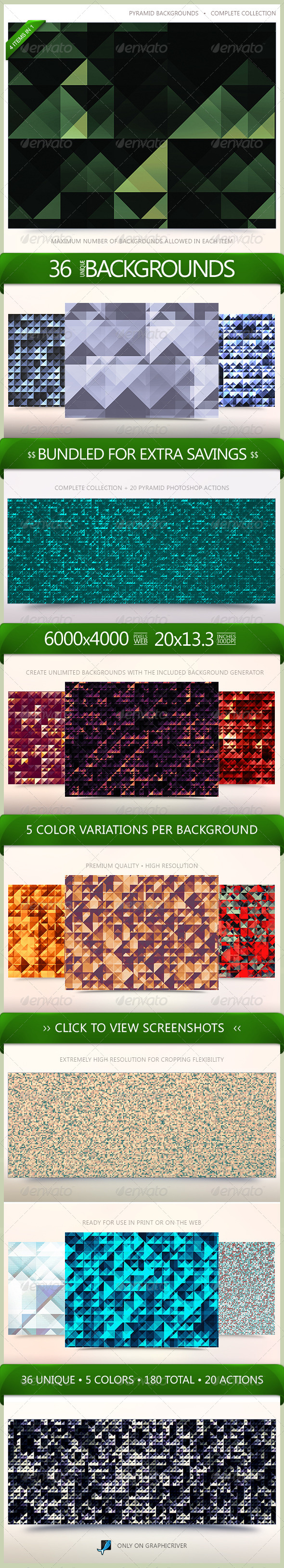 GraphicRiver Pyramid Backgrounds Bundle 6522815