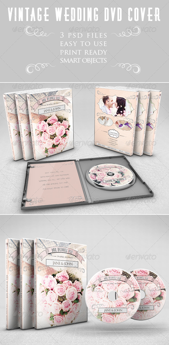 GraphicRiver Vintage Wedding DVD Cover 6419282