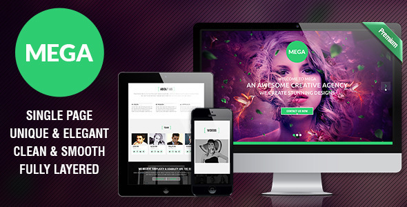 MEGA - Single Page Premium Theme - Corporate PSD Templates