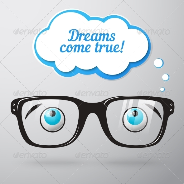 GraphicRiver Glasses with Eyes Dreaming Concept 6524366
