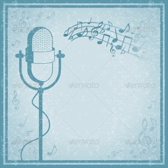 GraphicRiver Microphone with Music on Vintage Background 6524370
