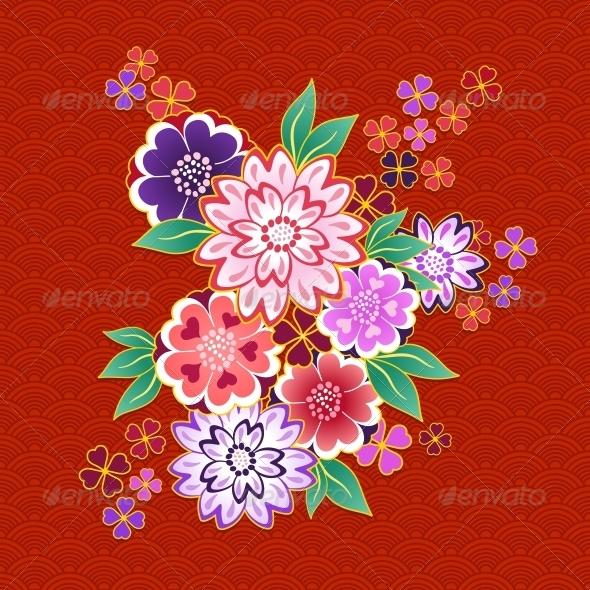 GraphicRiver Decorative Kimono Floral Motif on Red Background 6524538