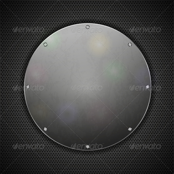 GraphicRiver Circle Steel Plate on Metal Background 6524600