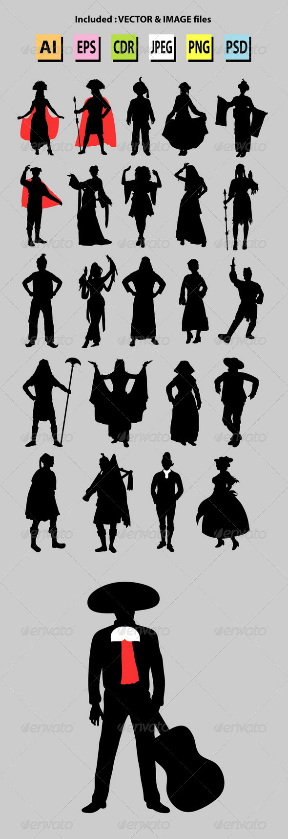 GraphicRiver Nationalities Silhouette 6525839