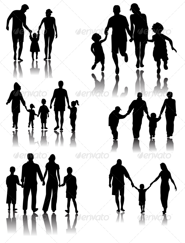 GraphicRiver Family Silhouettes Vector 6526591