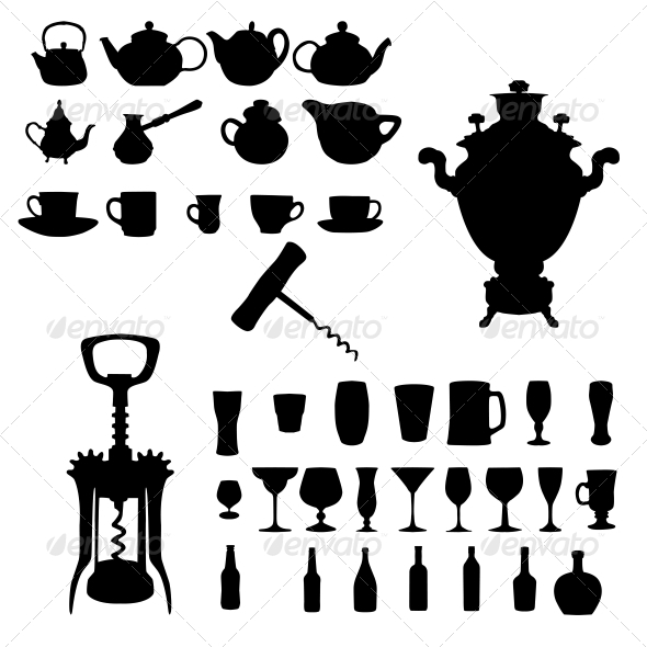 GraphicRiver Silhouette of Drinks Cafe Icons 6526720