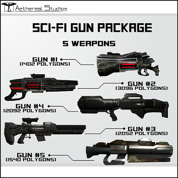3DOcean Sci-Fi Gun Weapon Pack 6526998