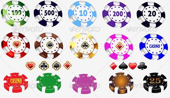 GraphicRiver Color Casino and Poker Chips Set 6527540