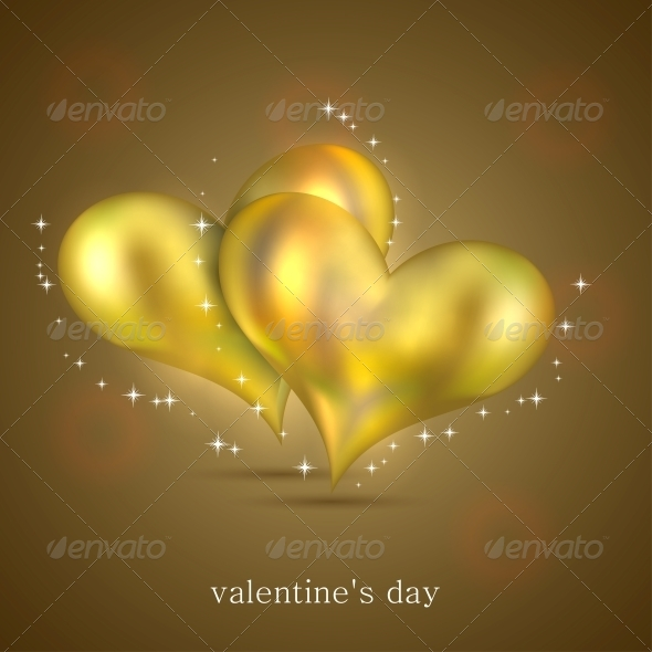 GraphicRiver Gold Hearts Background 6527883