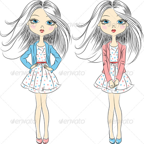 GraphicRiver Fashion Grls in Summer Dress 6529251