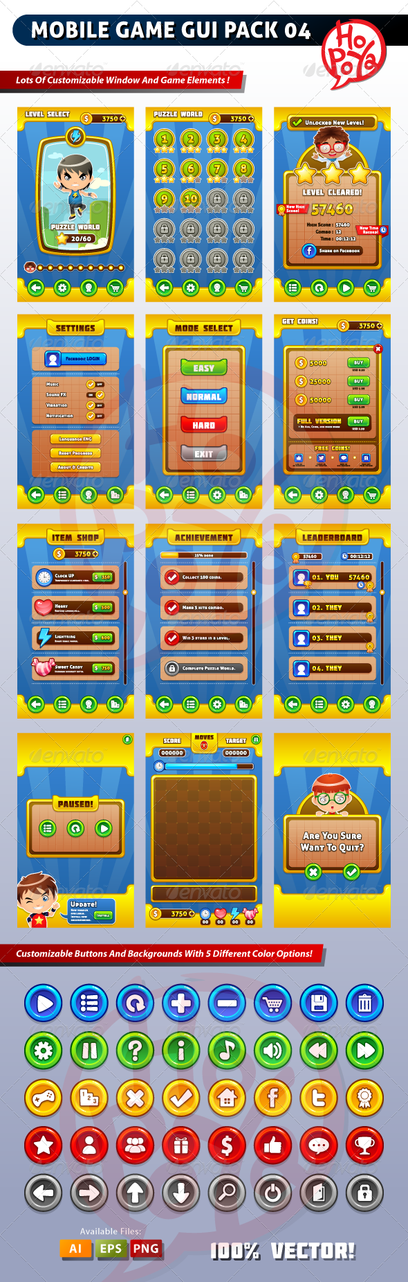 Mobile Game GUI Pack 04 - Web Elements Vectors