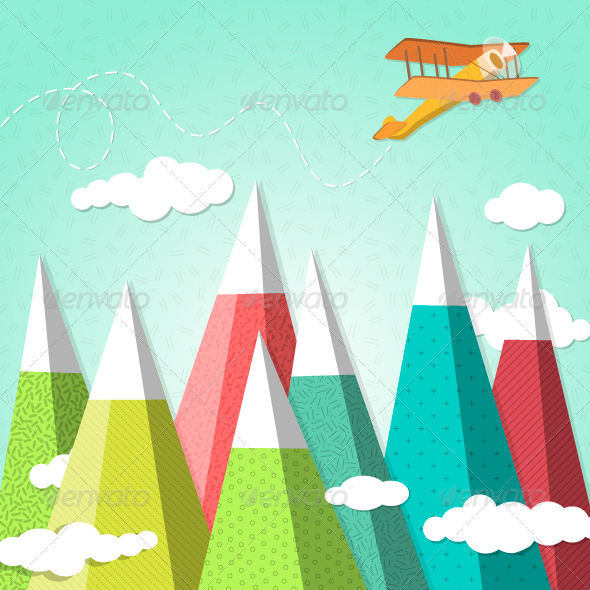 GraphicRiver Mountain Background with a Biplane 6531487