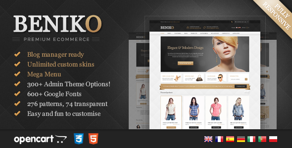 Beniko is an advanced OpenCart theme fully customizable and suitable for e-commerce websites of any purpose. The template is characterized by universality, att